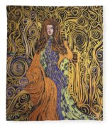 Lady Of Swirl Fleece Blanket