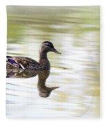 Lady On Glass - Mallard Fleece Blanket