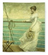 Lady On The Deck Of A Ship  Fleece Blanket