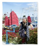 Lady Pirate And Friend Fleece Blanket
