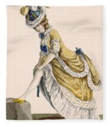 Lady Pulling Up Her Stocking, Engraved Fleece Blanket