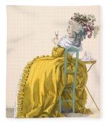Lady Reclines On Chair Drinking Fleece Blanket