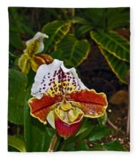 Lady Slipper Orchid Fleece Blanket