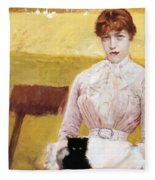Lady With Black Kitten Fleece Blanket