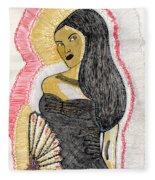 Lady With Fan Fleece Blanket