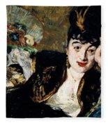 Lady With Fan Portrait Of Marie Anne De Callias Known As Nina De Callias Fleece Blanket