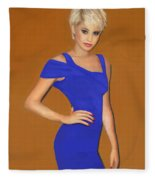 Lady With The Blue Dress Fleece Blanket