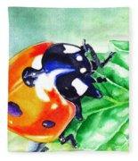 Ladybug On The Leaf Fleece Blanket