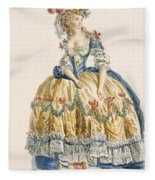 Ladys Elaborate Ball Gown, Engraved Fleece Blanket