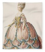 Ladys Gown For The Royal Court Fleece Blanket