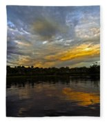 Lagoon Sunset In The Jungle Fleece Blanket