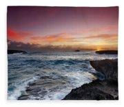 Laie Point Sunrise Fleece Blanket