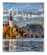 Lake Bled And Mountains Fleece Blanket