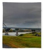 Lake Champlain Bridge Panorama From Crown Point Fleece Blanket