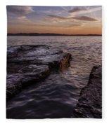 Lake Champlain Sunset Burlington Vermont Oakledge Park Fleece Blanket