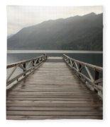Lake Crescent Dock Fleece Blanket