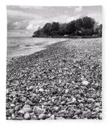 Lake Erie Coast Black And White Fleece Blanket
