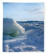 Lake Erie Ice Sunrise Fleece Blanket
