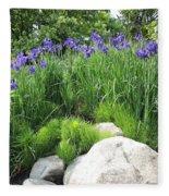 Lake George Irises Fleece Blanket