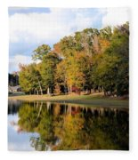 Lake House In Autumn Fleece Blanket