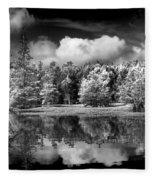 Lake In Black And White One Fleece Blanket