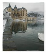 Lake In Front Of A Chateau, Chateau De Fleece Blanket