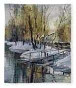Lake In The Winter Fleece Blanket