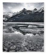 Lake Louise - Black And White #2 Fleece Blanket