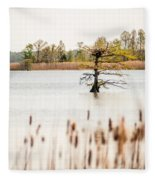 Lake Mattamuskeet Nature Trees And Lants In Spring Time  Fleece Blanket