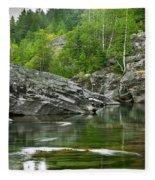 Lake Mcdonald Falls River Glacier National Park Fleece Blanket