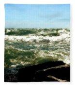 Lake Michigan In An Angry Mood Fleece Blanket