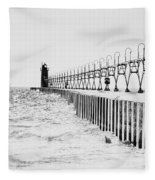 Lake Michigan Lighthouse Fleece Blanket