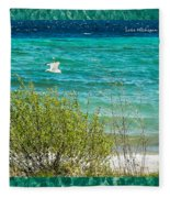 Lake Michigan Seagull In Flight Fleece Blanket