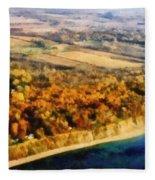Lake Michigan Shoreline In Autumn Fleece Blanket