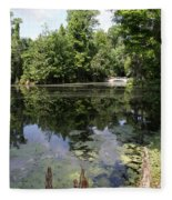 Lake On The Magnolia Plantation With White Bridge Fleece Blanket
