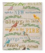 Lake Rules With Birds-c Fleece Blanket
