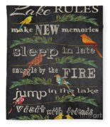 Lake Rules With Birds-d Fleece Blanket