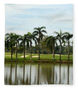 Lake Sand Traps Palm Trees And Golf Course Singapore Fleece Blanket