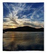 Lake Sunset In The Wichita Mountains Fleece Blanket