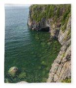 Lake Superior Cliff Scene 9 Fleece Blanket