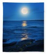 Lake Superior Moonrise Fleece Blanket