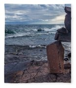 Show Me The Way - Lake Superior Rock Stack Fleece Blanket