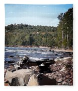 Lake Superior Shoreline Abstract Fleece Blanket
