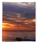 Lake Superior Sunset Panorama Fleece Blanket