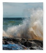 Lake Superior Waves Fleece Blanket