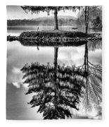 Lake Tree Fleece Blanket