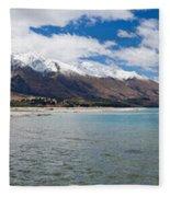 Lake Wakatipu And Snowy New Zealand Mountain Peaks Fleece Blanket