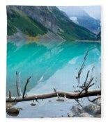 Lake With Canadian Rockies Fleece Blanket