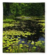 Lake With Lily Pads Fleece Blanket