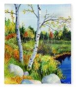Lakeside Birches Fleece Blanket